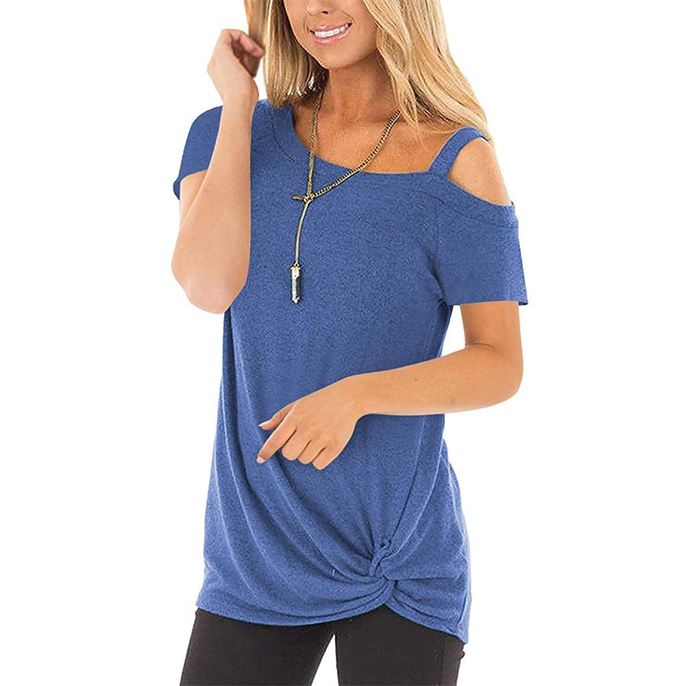 Women Short-sleeved One-shoulder Sling Off-shoulder T-shirt