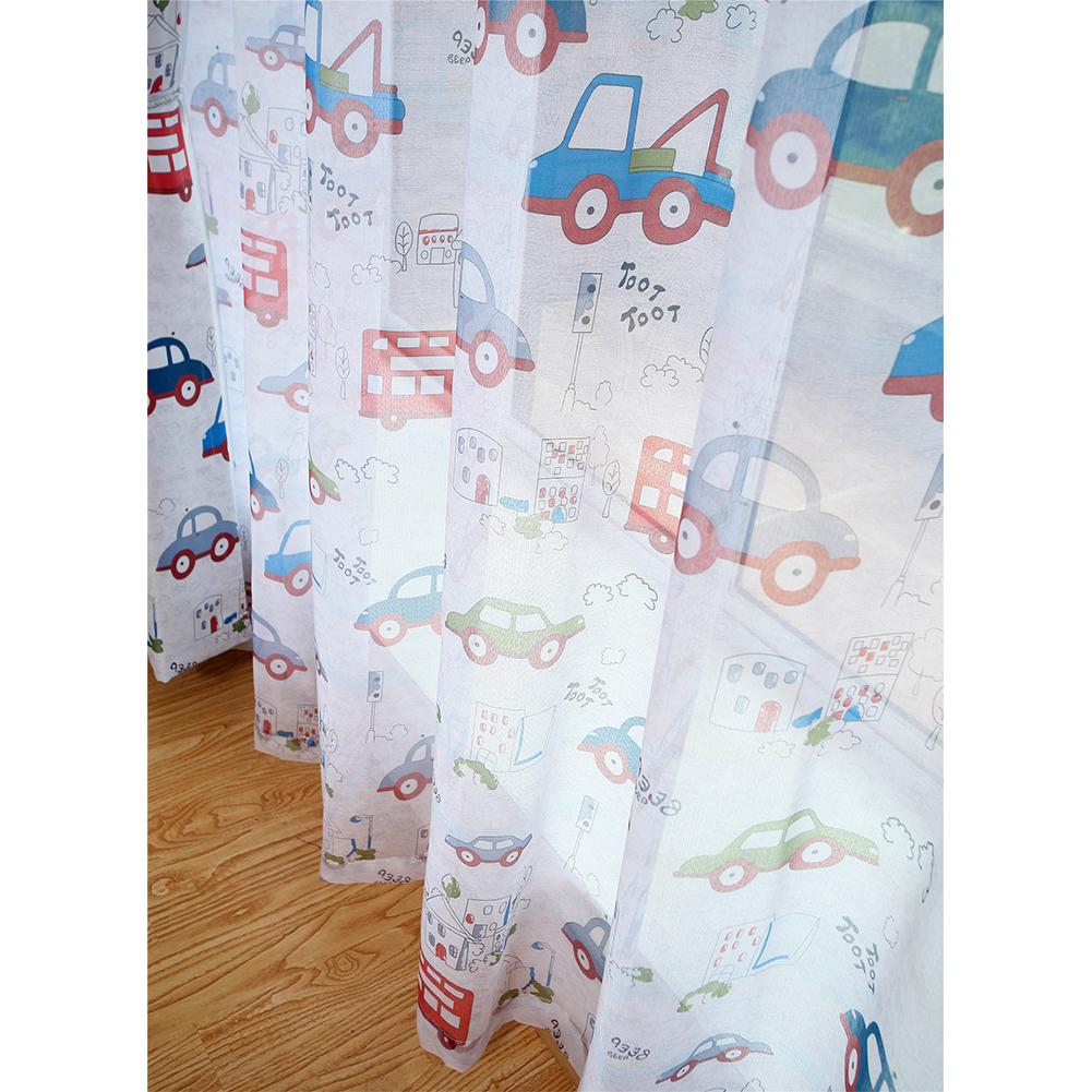 Cartoon Cars Printing Shading Window Curtain for Kids Bay Window Nursery Baby Room Photo Color_W100*H250cm yarn hook