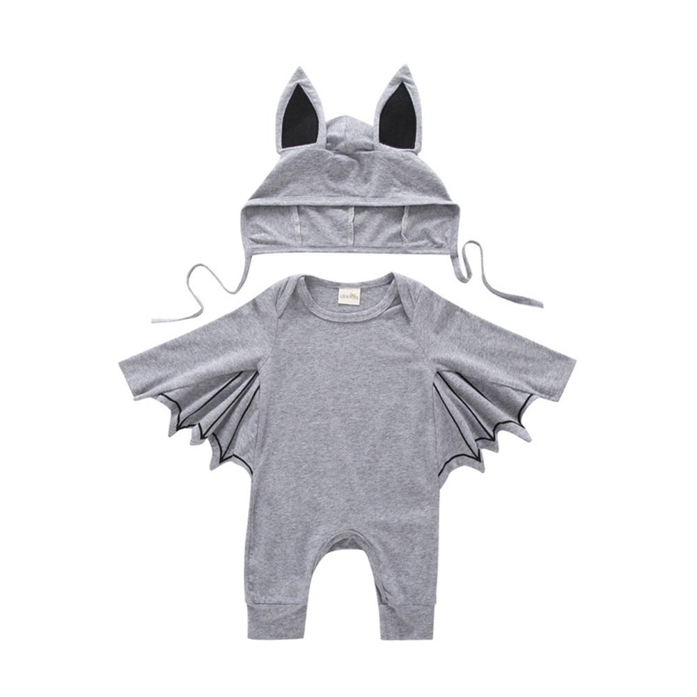 Baby Infant Bat Shape Cartoon Romper + Cap Set Halloween Costume gray_70cm