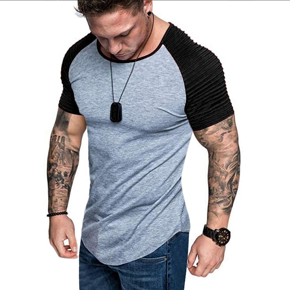Men Casual Sports T-shirt Thin Slim Fashion Matching Color T-shirt Light gray with black_L