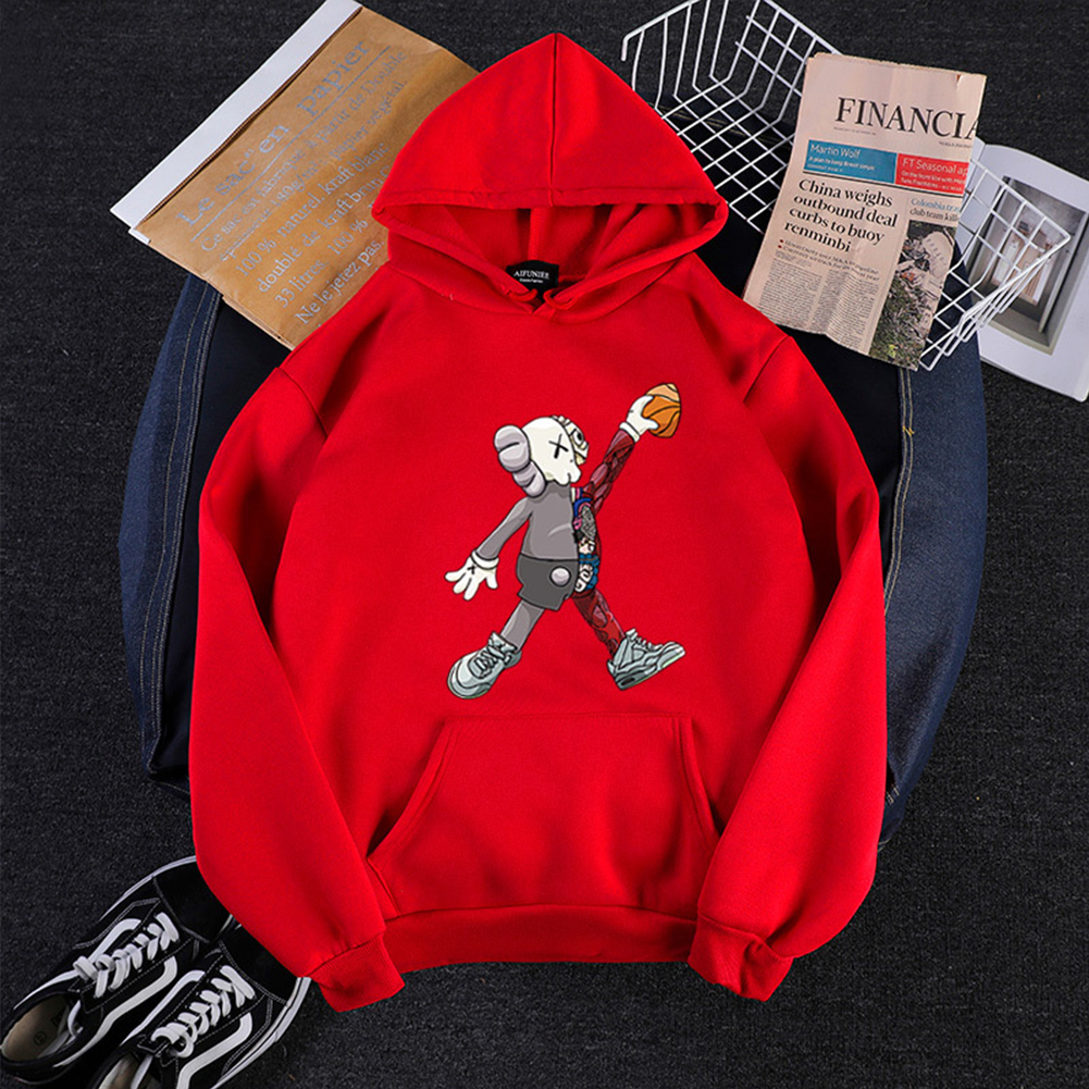 KAWS Men Women Hoodie Sweatshirt Cartoon Walking Doll Thicken Autumn Winter Loose Pullover Red_XL
