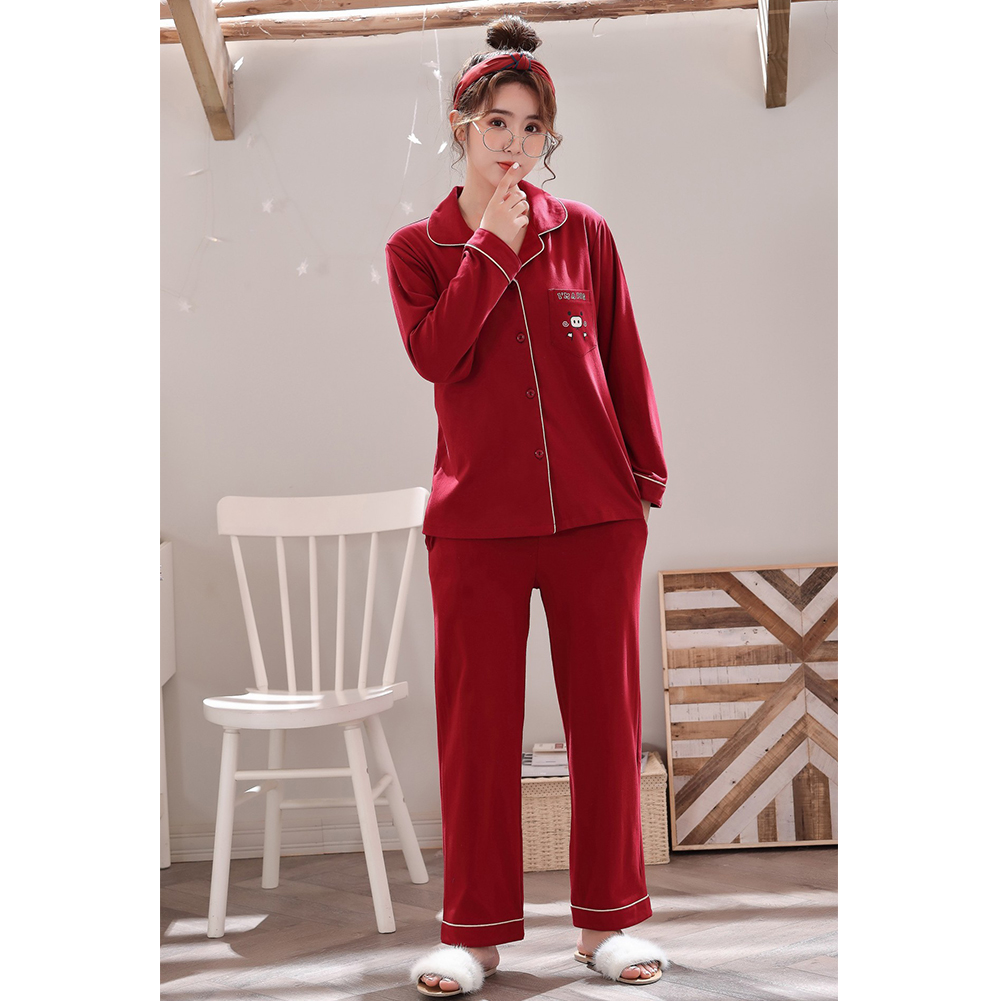 Couples Pajama Set Long Sleeve and V-neck Top and Pants Sleepwear Home Wear for Man and Woman 326 women_L