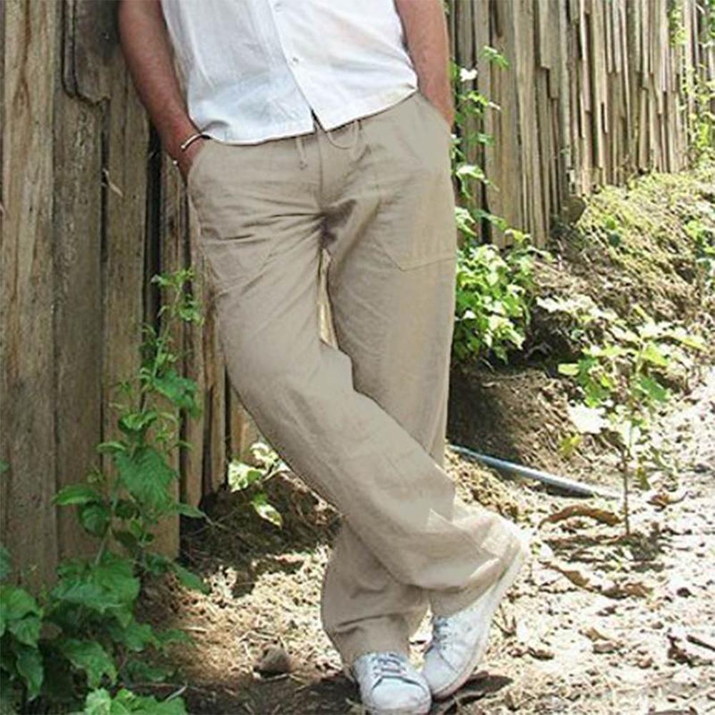 Man Plain Straight Track Pants Jogger Drawstring Slacks Casual Pants light gray_L