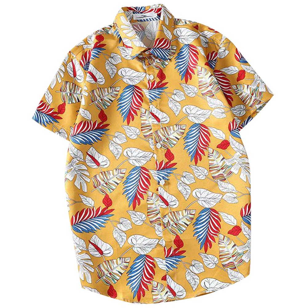 Men Women Printing Shirts Short Sleeve Floral Casual Blouse 8867 yellow_L