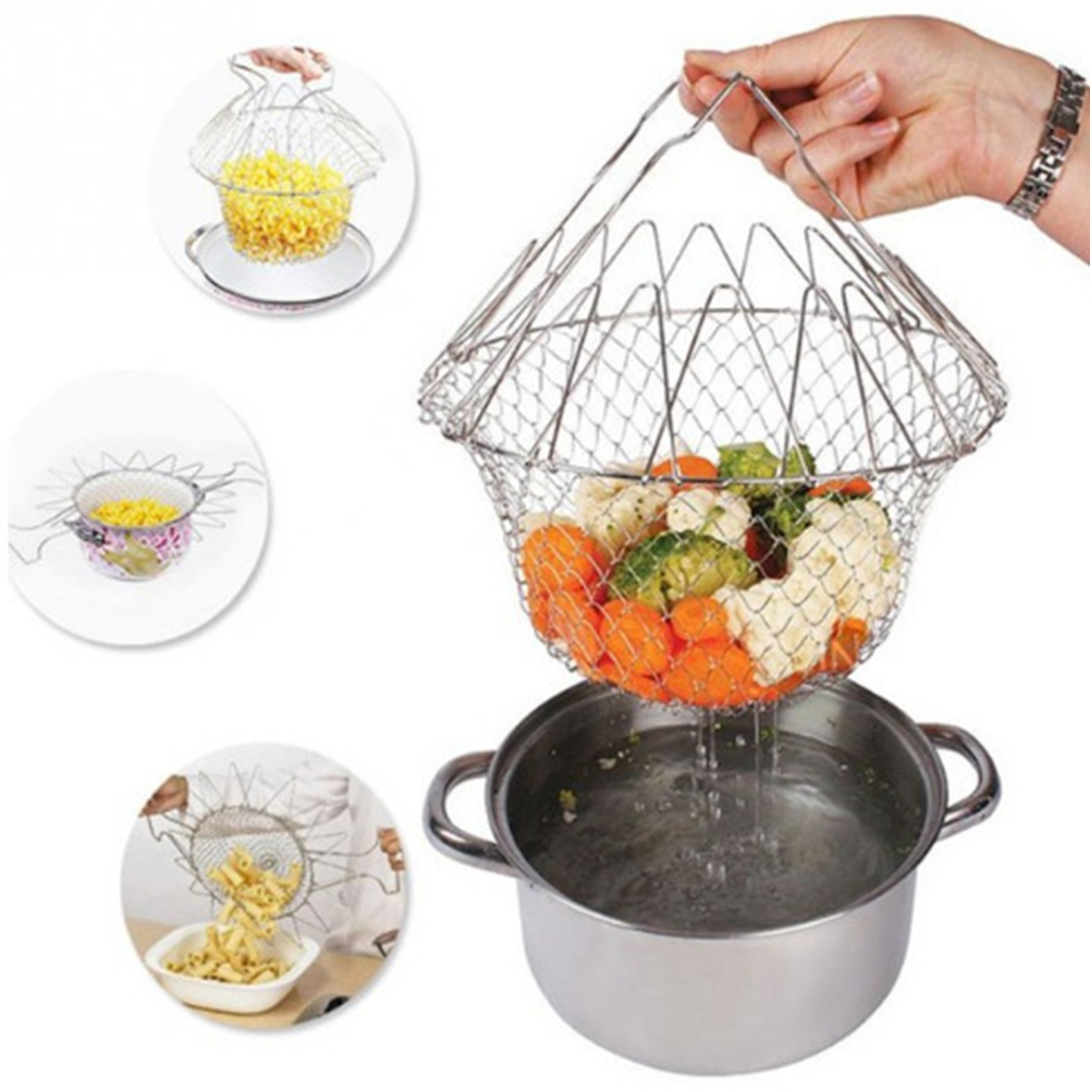 Multifunction Foldable Stainless Steel Kitchen Fry Basket Cooking Tool 23.5X9.5CM