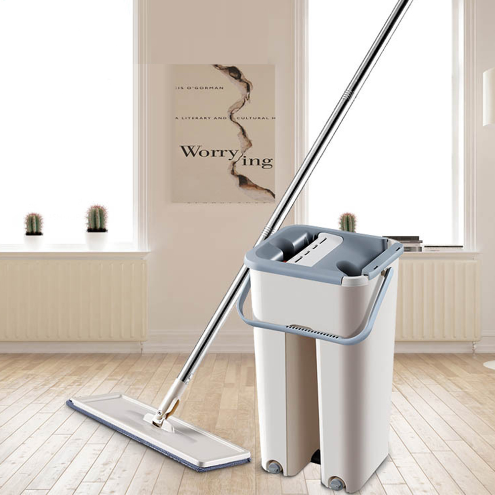Spray Magic Automatic Spin Mop Avoid Hand Washing Cleaning Cloth for Home Kitchen Wooden Floor Bucket + mop + 2  Mop cloth
