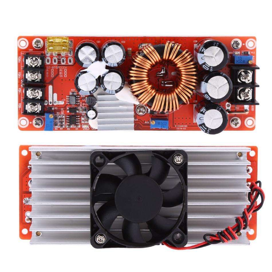 1500W 30A DC-DC Boost Converter Step-up Power Supply Module In 1060V Out 1290V Double Sendust Magnet Non-isolated Step-up Module red