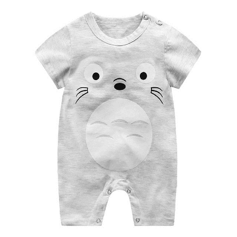 Newborn Infant Baby Boy Girl Cartoon Printing Short Sleeve Romper Bodysuit  Chinchilla_59cm