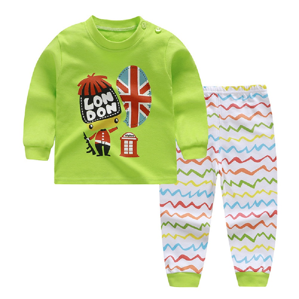 2pcs Kids Girl Boy Long Sleeve Round Collar Tops+Long Trousers Home Wearing Clothes Suits Autumn set of green soldiers_80/55  #