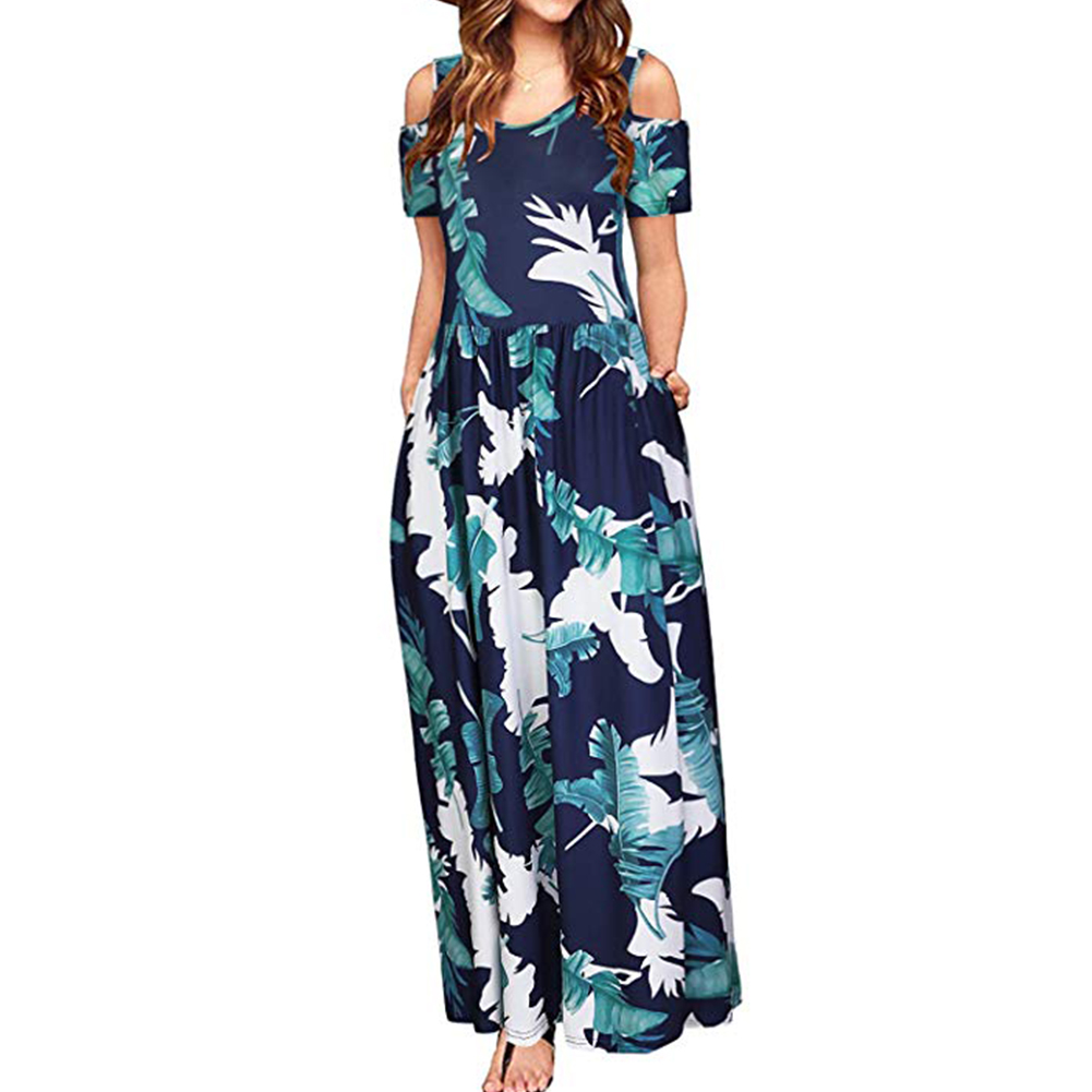 Women Elegant Off Shoulder Printing Long Style Pockets Dress Blue flower_M