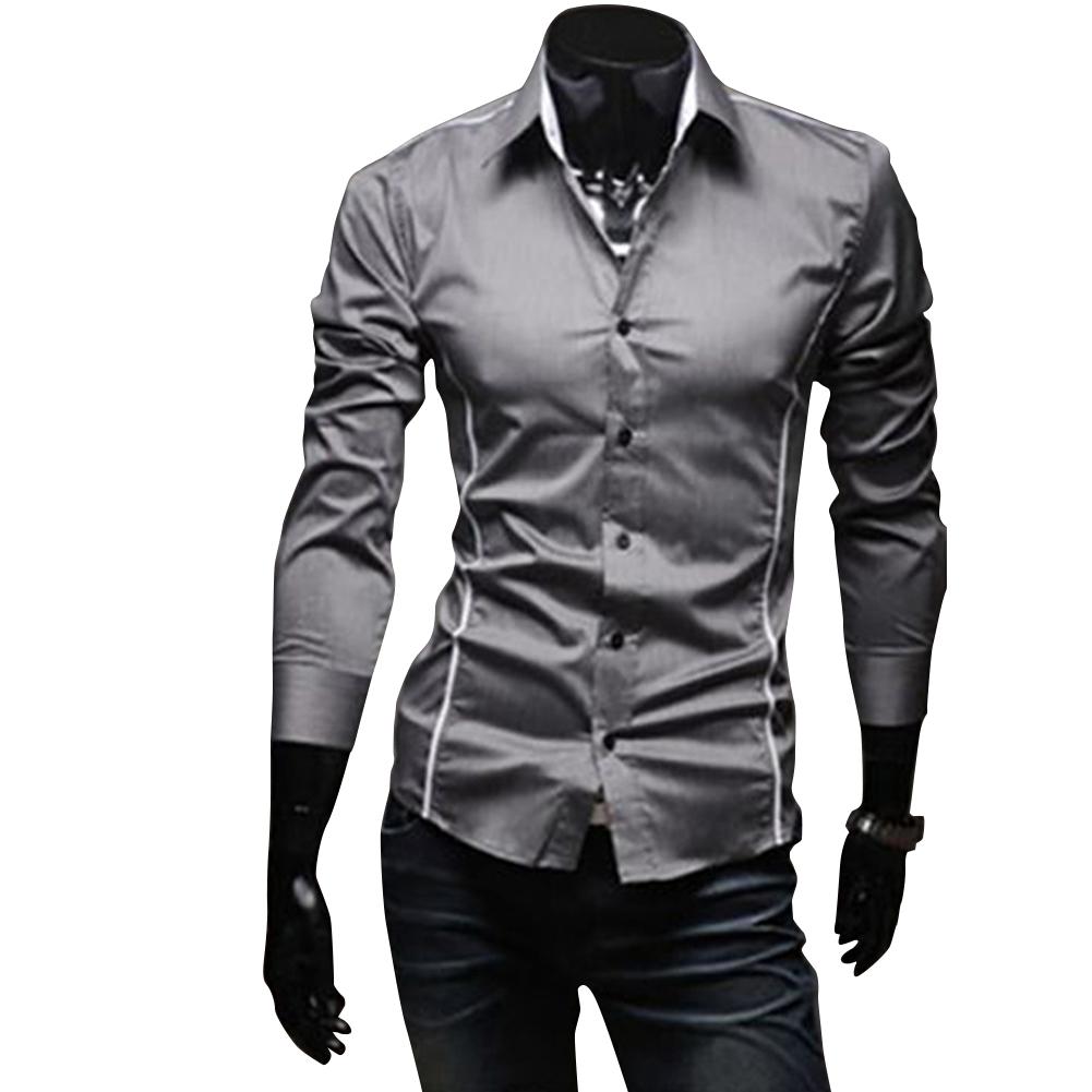 Men Luxury Casual Business Long Sleeve Slim Shirt gray_XL