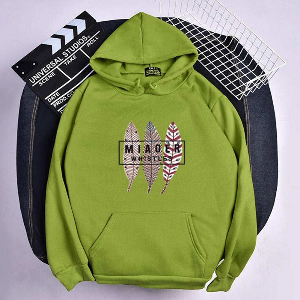 Men Women Hoodies Oversize Sweatshirt Loose Thicken Plush Autumn Winter Pullover Green_XXL