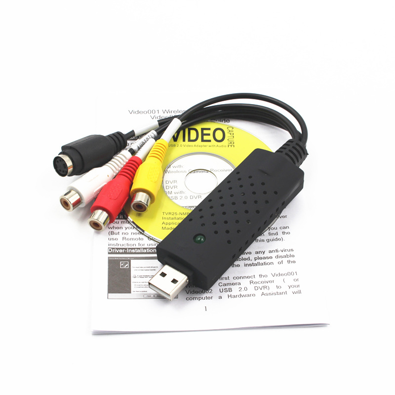 USB 2.0 Video Audio VHS to DVD Converter Capture Card Adapter black