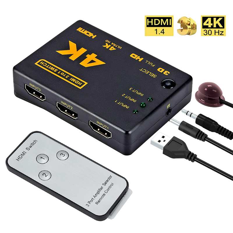 3 Port HDMI Splitter Switcher 3 In 1 Out Hub Box +Remote Auto Switch 1080P HD  black_3 ports