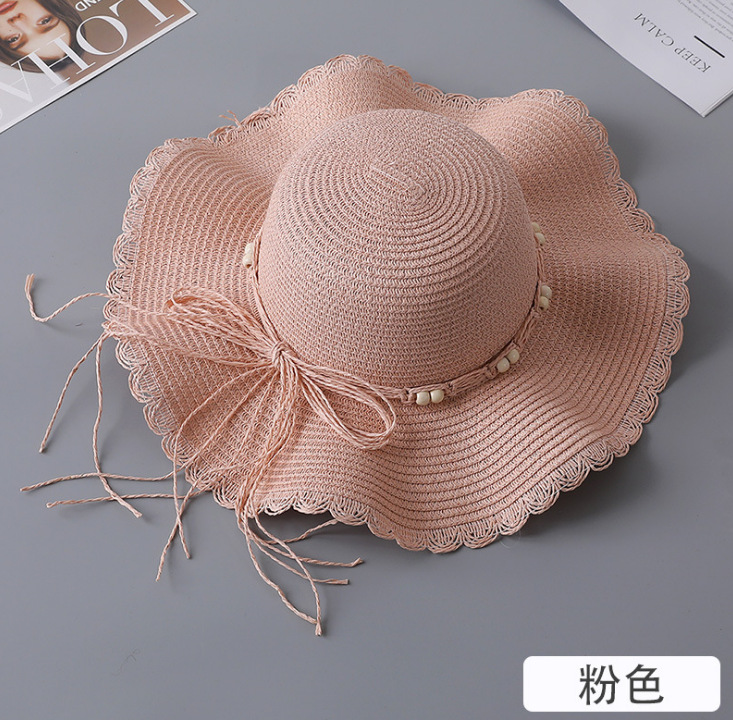 Women Bowknot Straw Hat Summer Sunscreen Foldable Hat