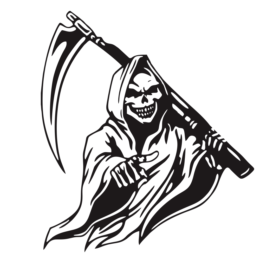 Car Sticker Grim Reaper Skull Pattern Decal Machine Car Truck Wall Window Vinyl Sticker black
