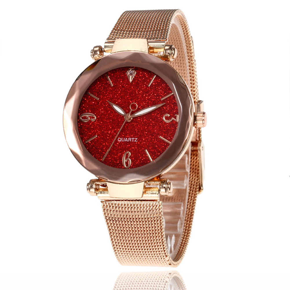 Women Fashion  Quartz Wrist Watch Stainless Steel Strap Buckle and Watchcase Watch red