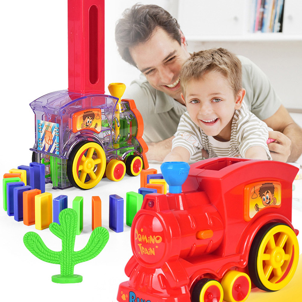 Domino Train Toy Set Rally Electric Train Model with 60 Pcs Colorful Domino Game Building Blocks Car Truck Vehicle Stacking 80pcs