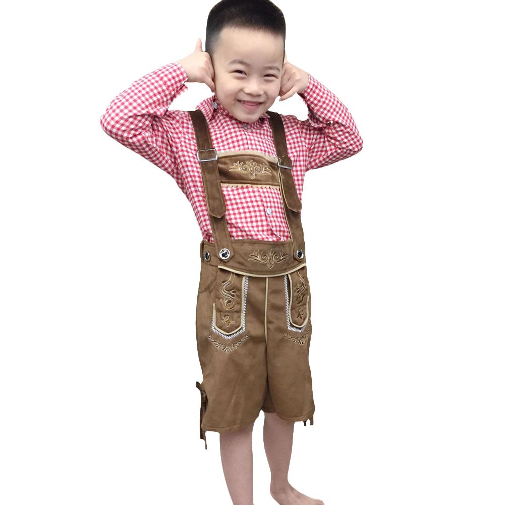 Children Boy Cool Oktoberfest Waiter Costume Beer Festival Suit Red plaid boy_XL