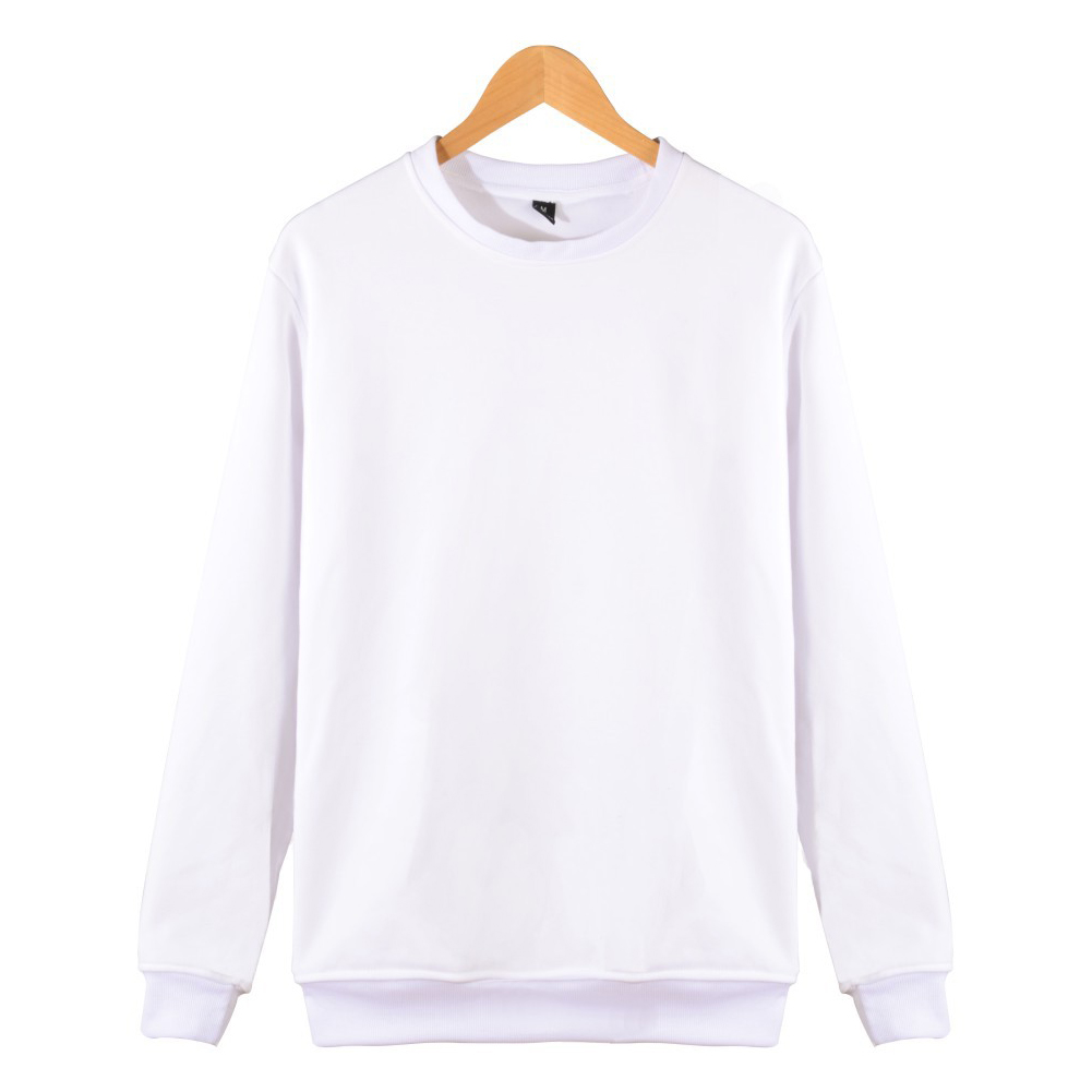 Men Solid Color Round Neck Long Sleeve Sweater Winter Warm Coat Tops white_S