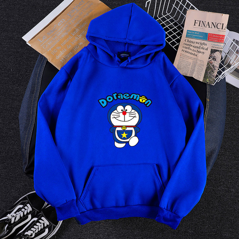 Men Women Hoodie Sweatshirt Cartoon Doraemon Thicken Loose Autumn Winter Pullover Tops Blue_XXXL
