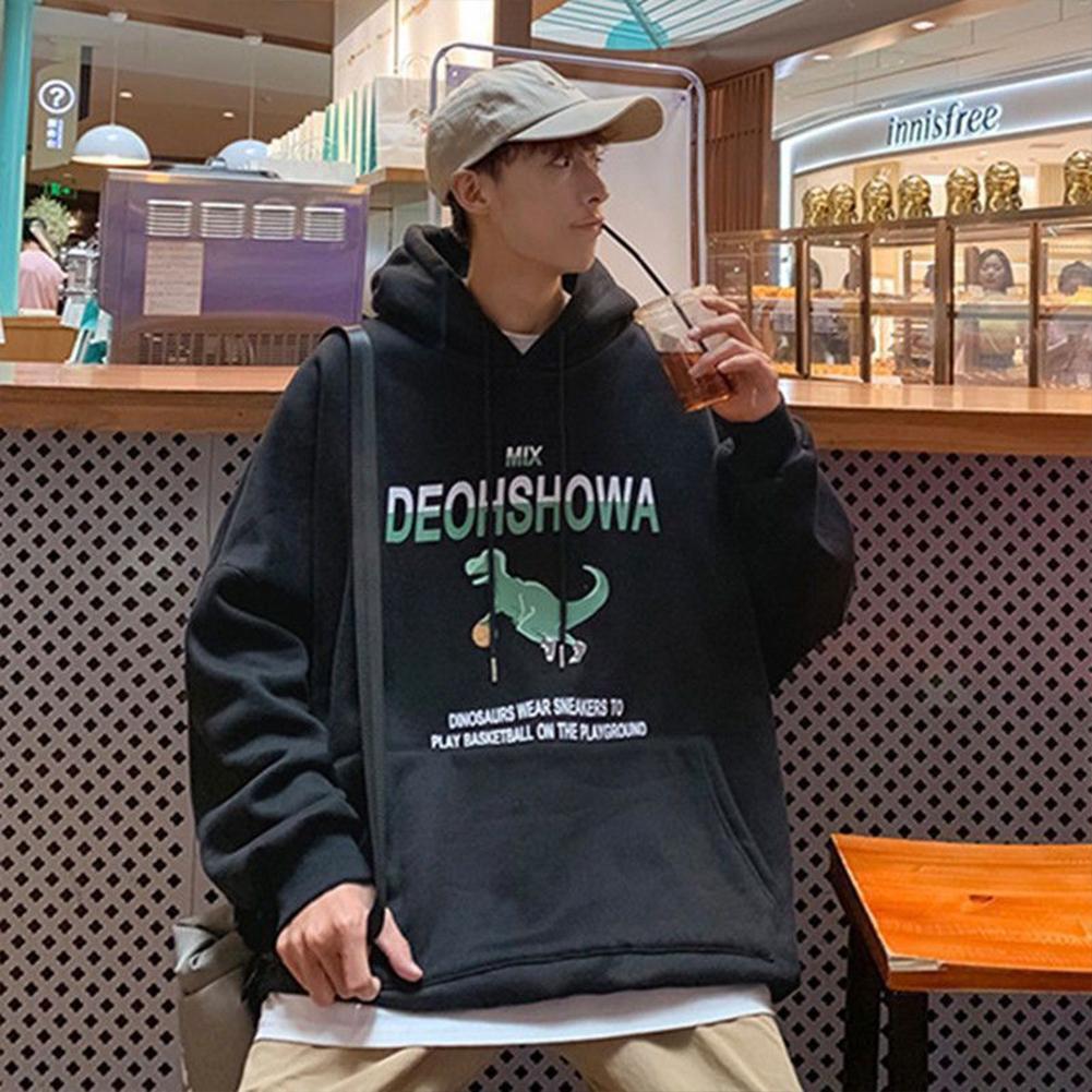 Men Women Hoodie Sweatshirt Thicken Velvet Dinosaur Loose Autumn Winter Pullover Tops Black_L