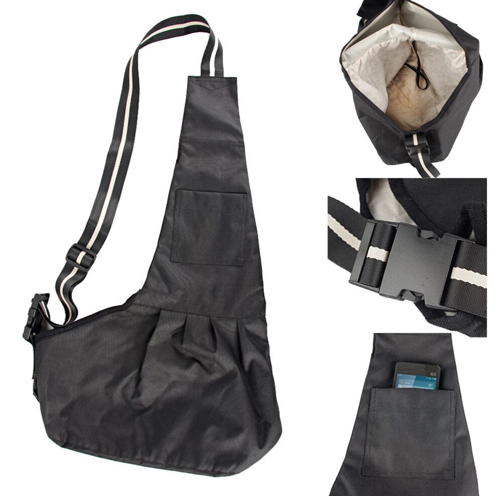 Casual Breathable Small Pet Dog Cat Shoulder Sling Bag for Outside Travel black_L
