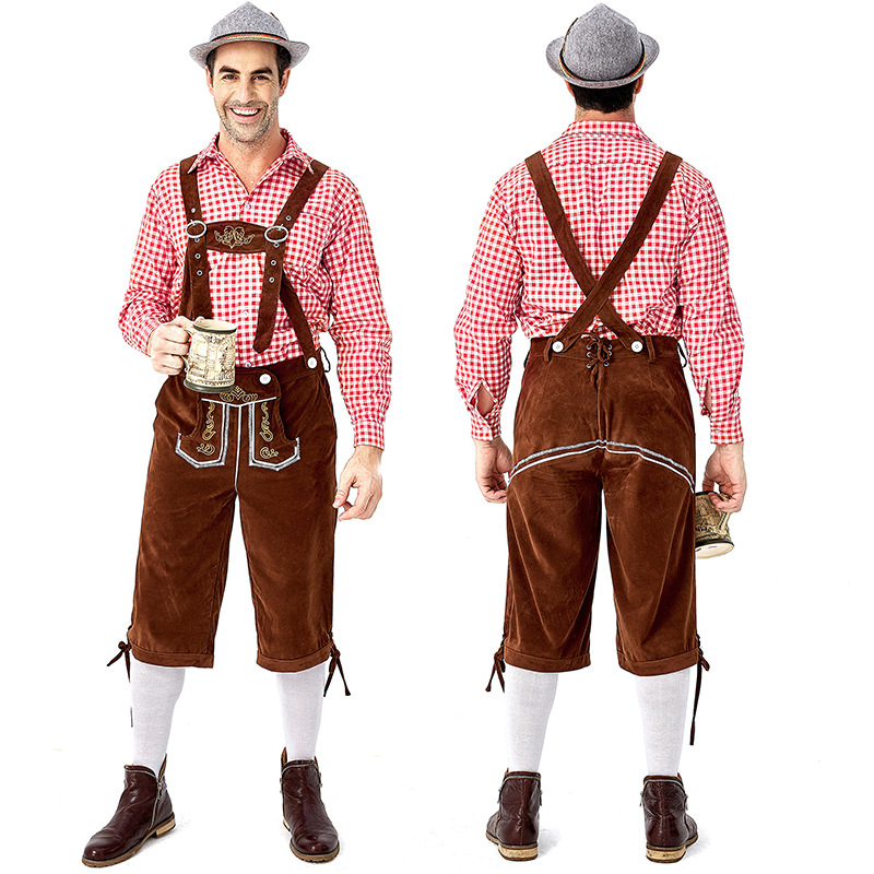 Adults Men Embroidery Suspender Pants Plaid Shirts for Cosplay Party Festival