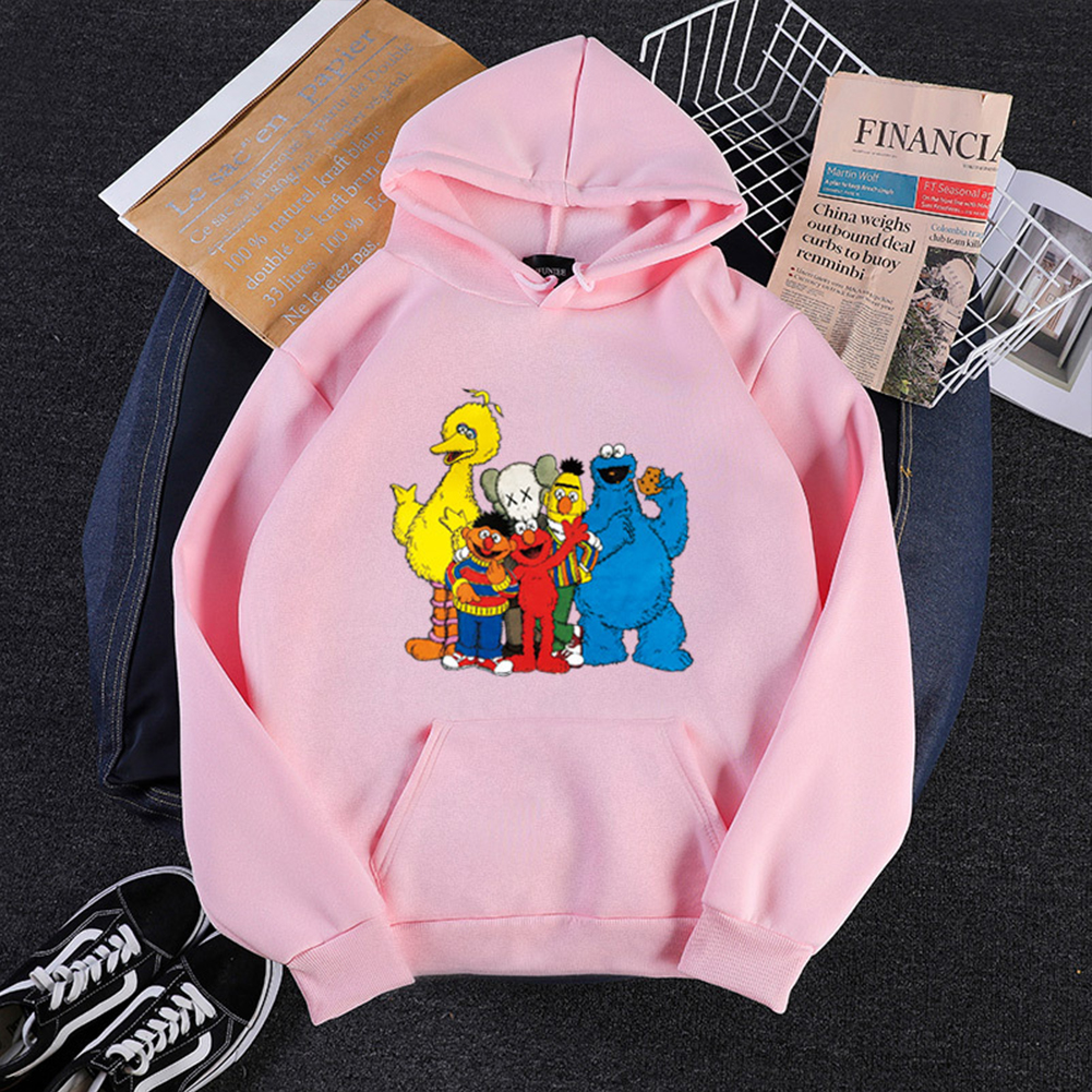 KAWS Men Women Sweatshirt Cartoon Animals Thicken Autumn Winter Loose Hoodie Pullover Pink_S