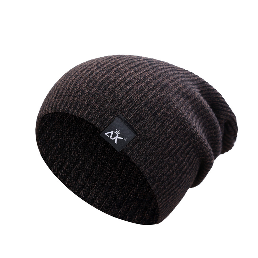 Baggy Beanies Winter Cap Outdoor Bonnet Skiing Hat Soft Knitted Hat for Man and Woman Brown