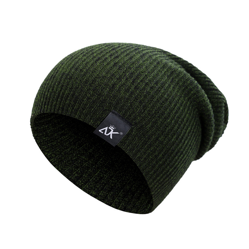 Baggy Beanies Winter Cap Outdoor Bonnet Skiing Hat Soft Knitted Hat for Man and Woman ArmyGreen