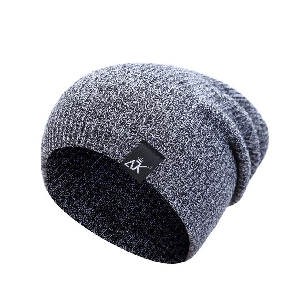 Baggy Beanies Winter Cap Outdoor Bonnet Skiing Hat Soft Knitted Hat for Man and Woman black