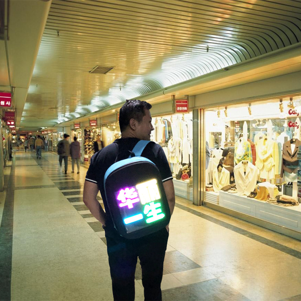 Smart LED Wifi Advertising Backpack Wireless Dynamic Backpack Shoulder Bag with Advertising Screen Boys Girls Gift blue