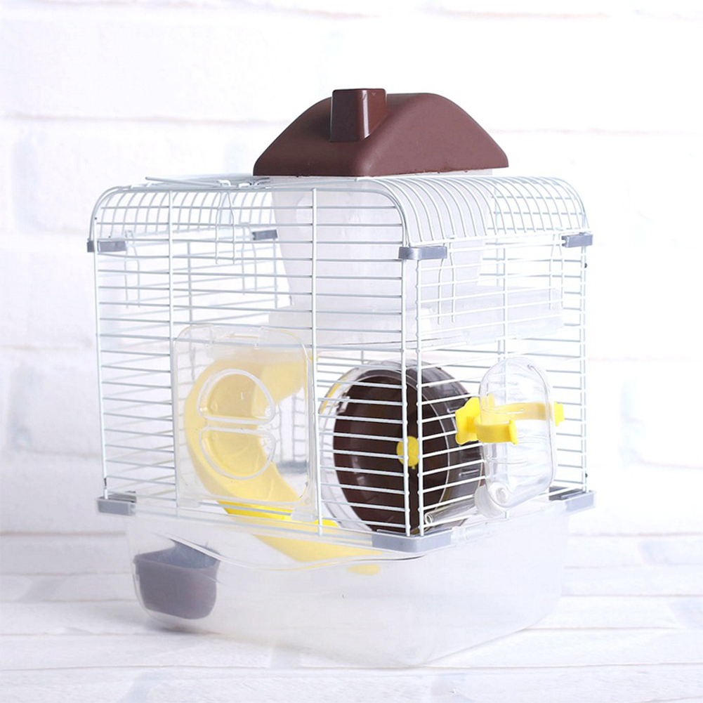 Crystal Pet Cage Hamster Cottage Double Layer House for Hamster Golden Hamster Pet Brown_L