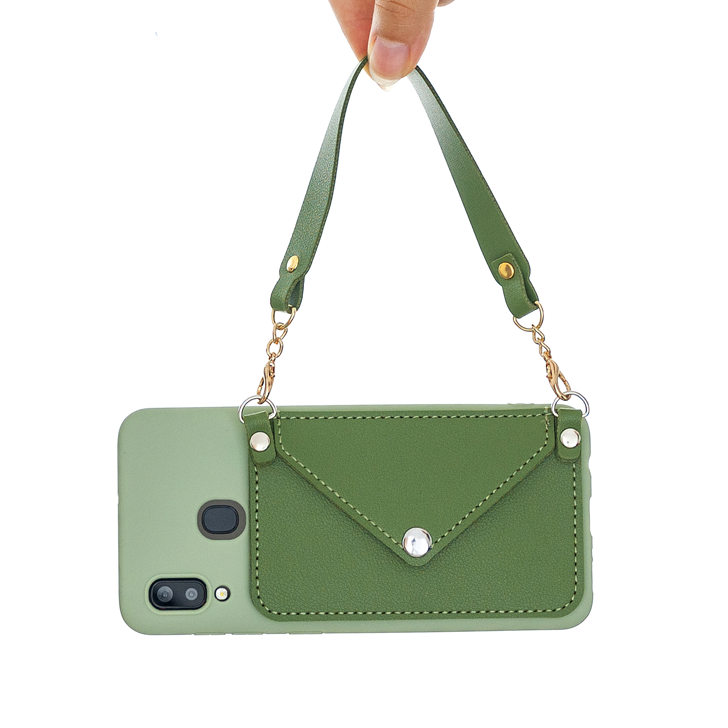For HUAWEI Y5 2018/2019/Y6 2019/Y7 2019/PSMART Z/Y9 2019 Mobile Phone Cover with Pu Card Holder + Hand Rope + Straddle Rope green