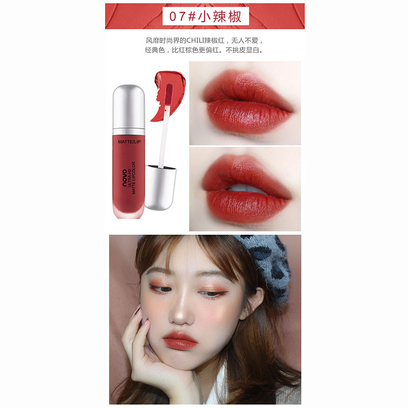 NOVO Velvet Matte Lip Gloss Waterproof Long Lasting Liquid Lipstick Non-Stick Cup Lips Makeup