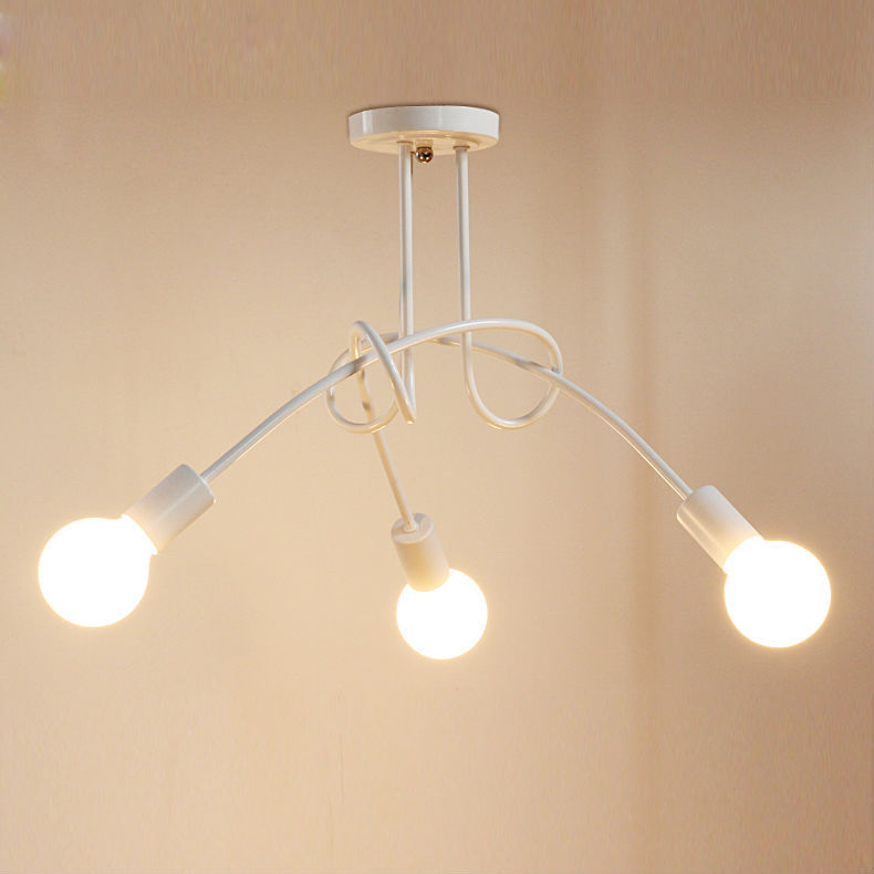 3/5 Pastoral Modern Ceiling Lamps Lights for Living Study Dining Room  white_3 heads