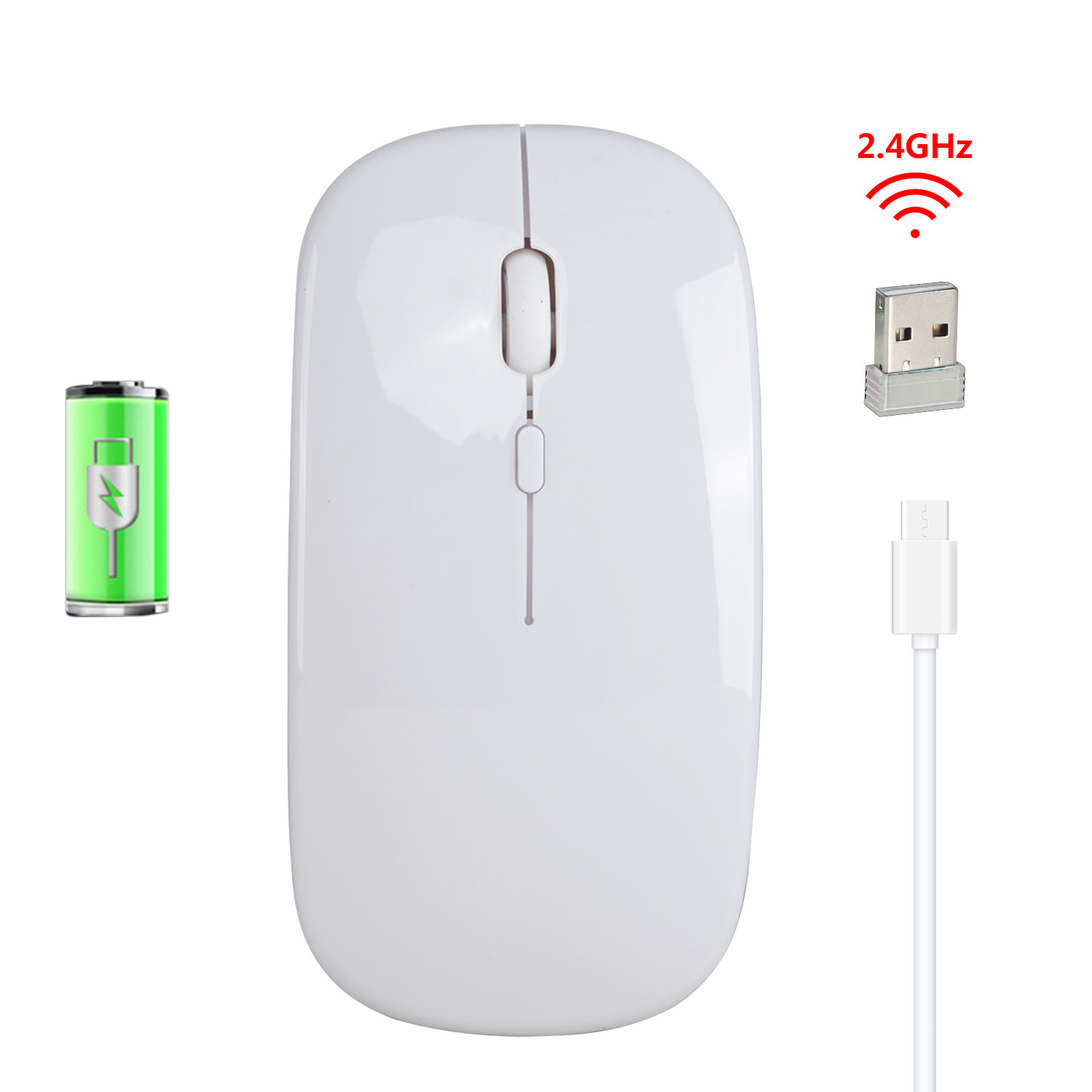 M80 2.4G Wireless Rechargeable Charging Mouse Ultra-Thin Silent Office Notebook Opto-electronic Mouse white