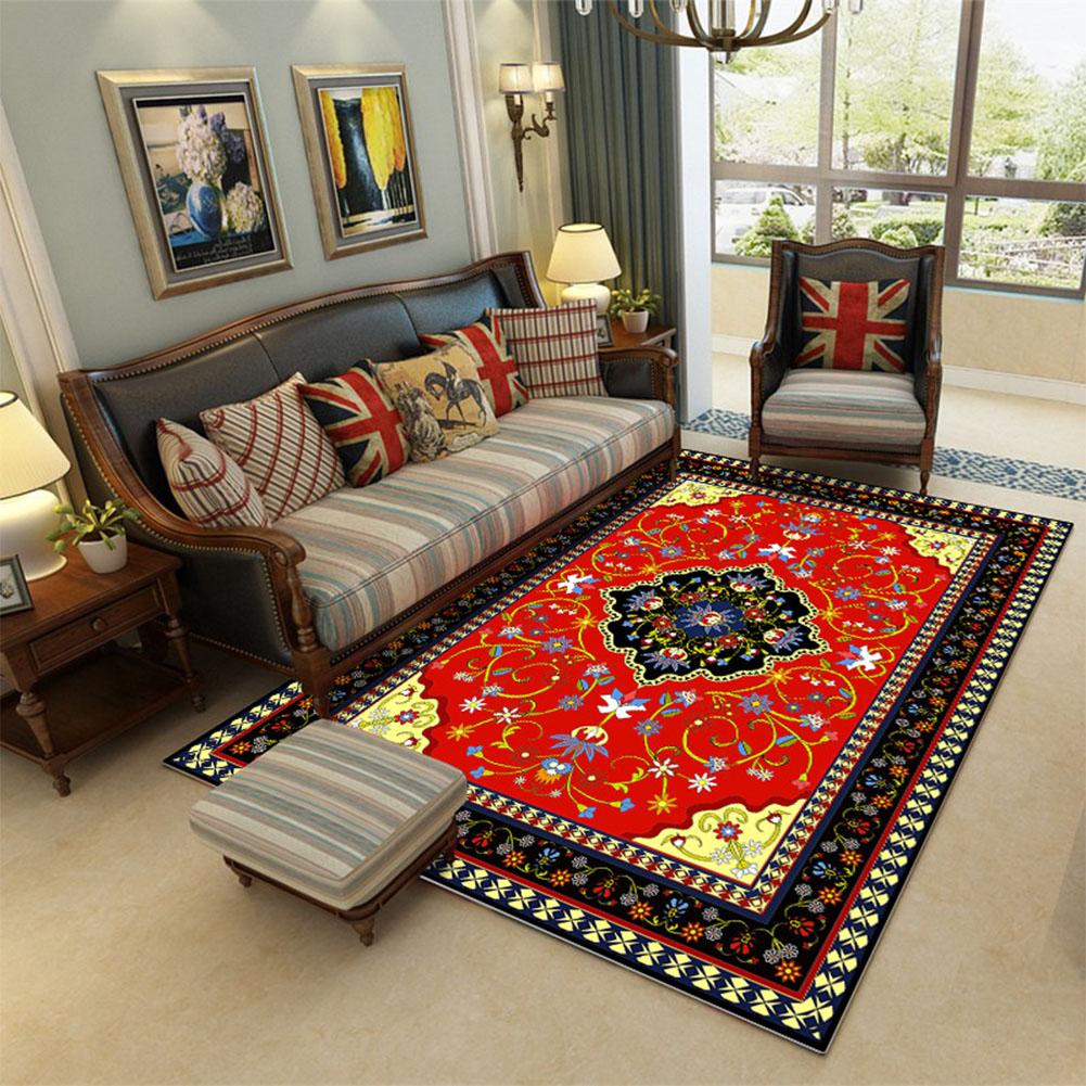 Retro Luxury Carpet Mat Non-slip Printing Floor Rug for Living Room Coffee Table Room Bedroom Decor 652_80*120cm