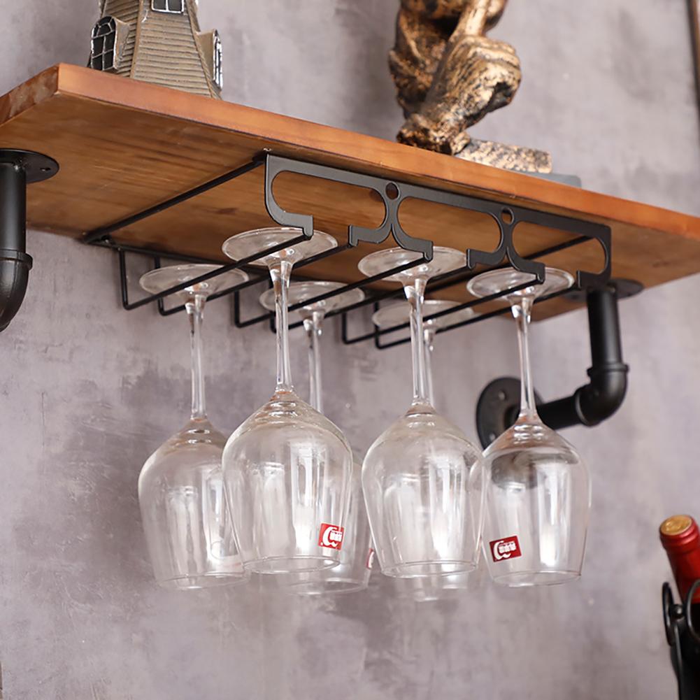 Wine Cup Holder Goblet Upside Down Wall Mounted Rack Glass Organization Shelf Stemware Storage 3 slots