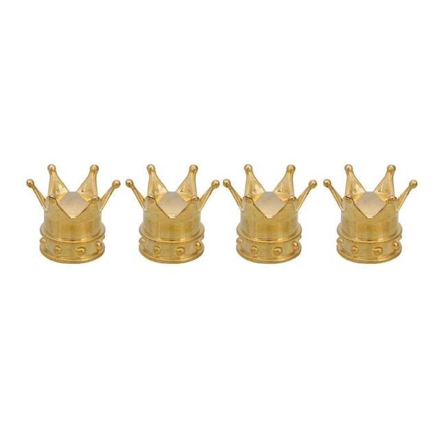 Abs Kings Crown Tyre Tire Wheel Stem Valve Air Dust Cover Caps For Car Gold