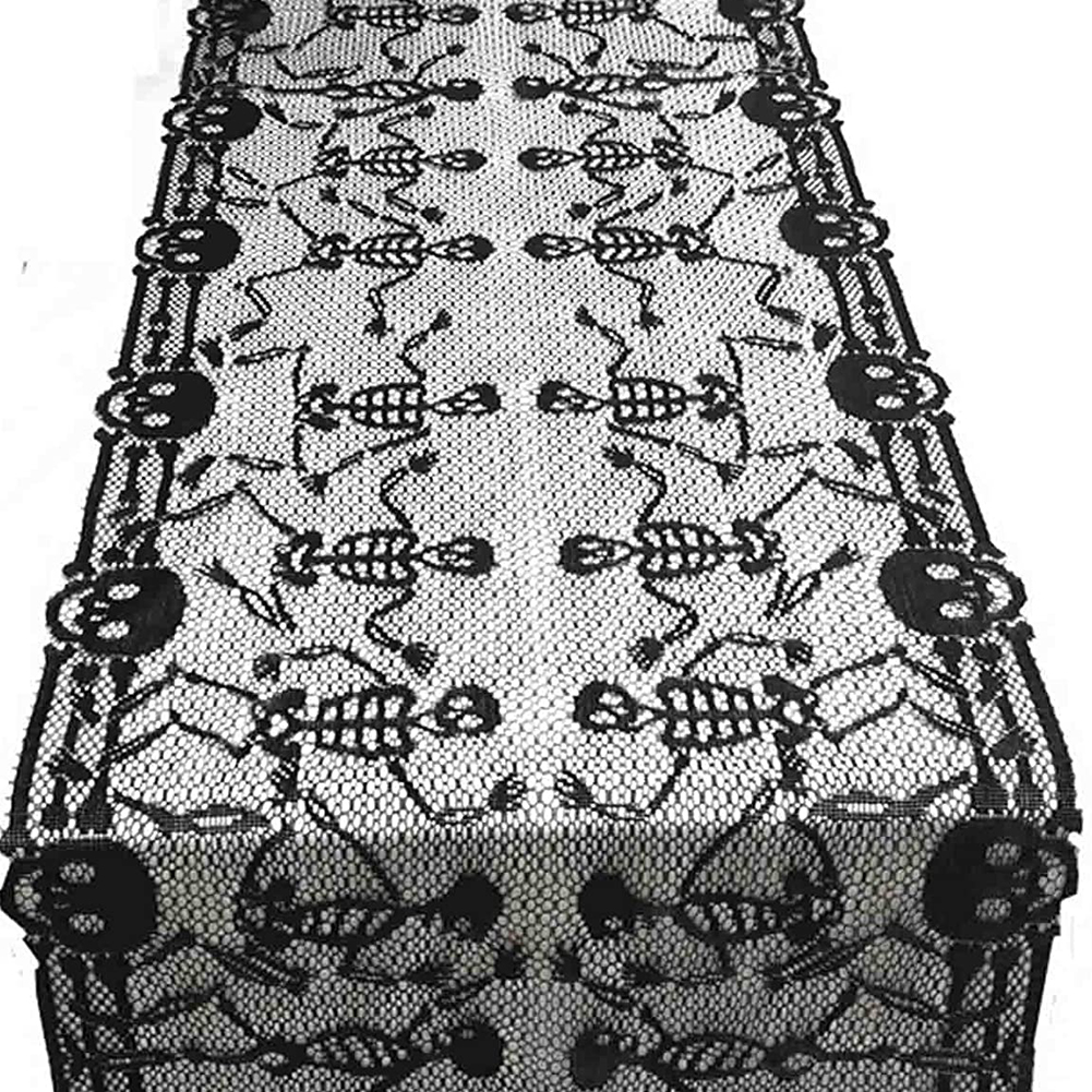 Large Size Lace Table Runner Black Skeleton Dance Pattern Halloween Party Decoration black_46x200cm