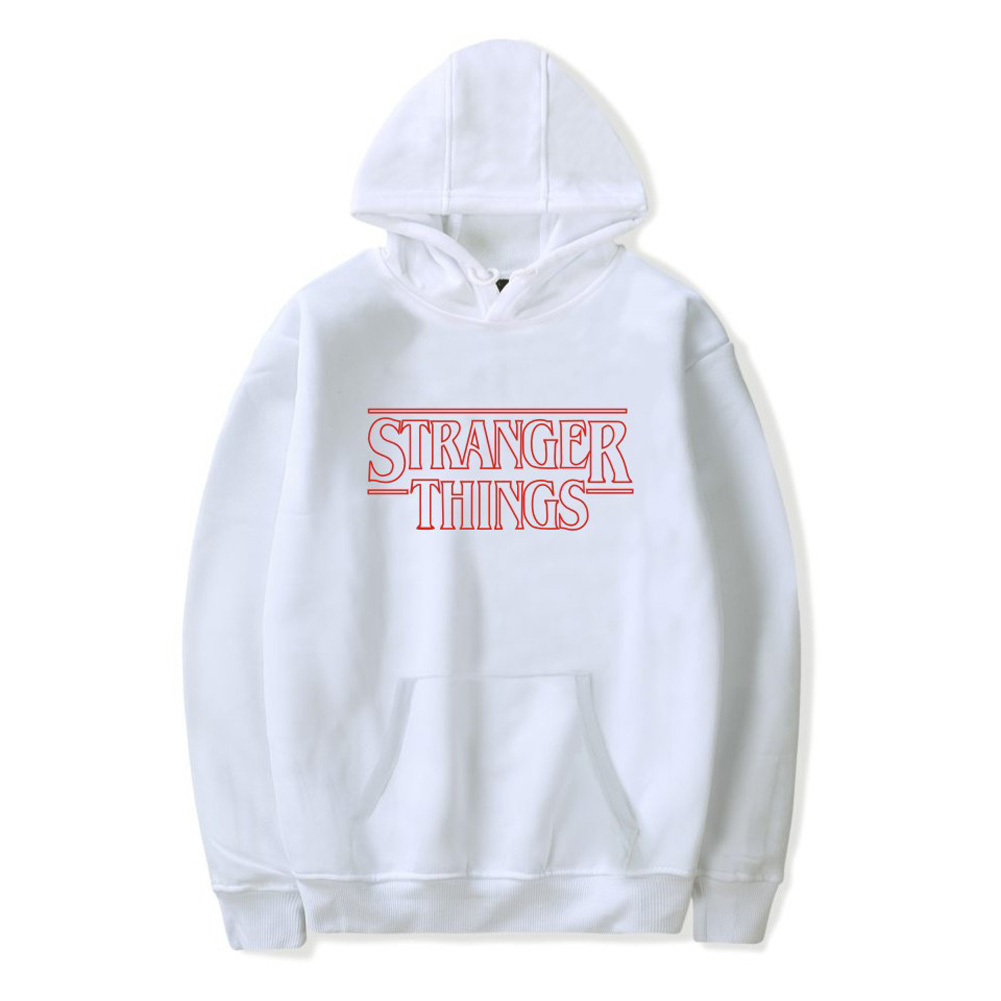 Men Fashion Stranger Things Printing Thickening Casual Pullover Hoodie Tops white--_S