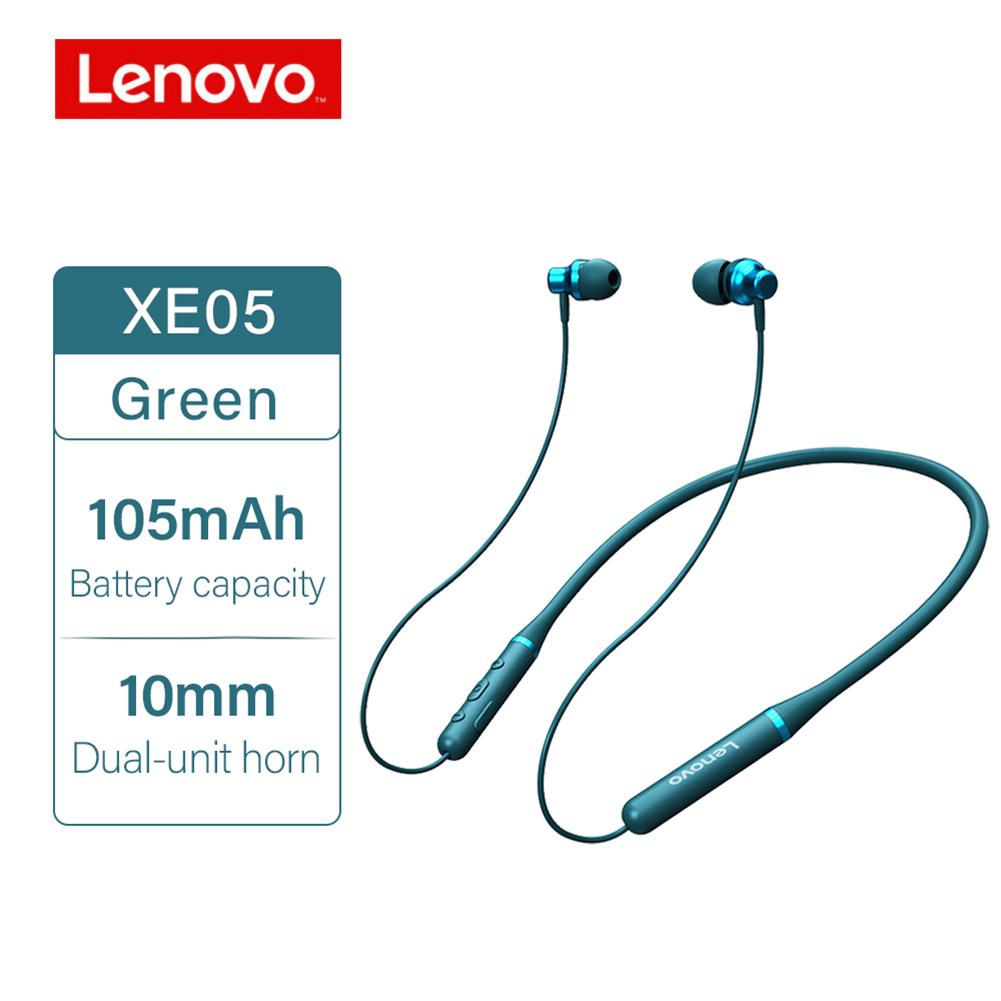 Original LENOVO XE05 Neck-type Bluetooth Headset Sports Waterproof Long Standby Earphones Green