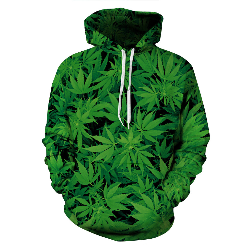 3D Green Leave Printing Hooded Sweatshirts for Lovers green_XXL