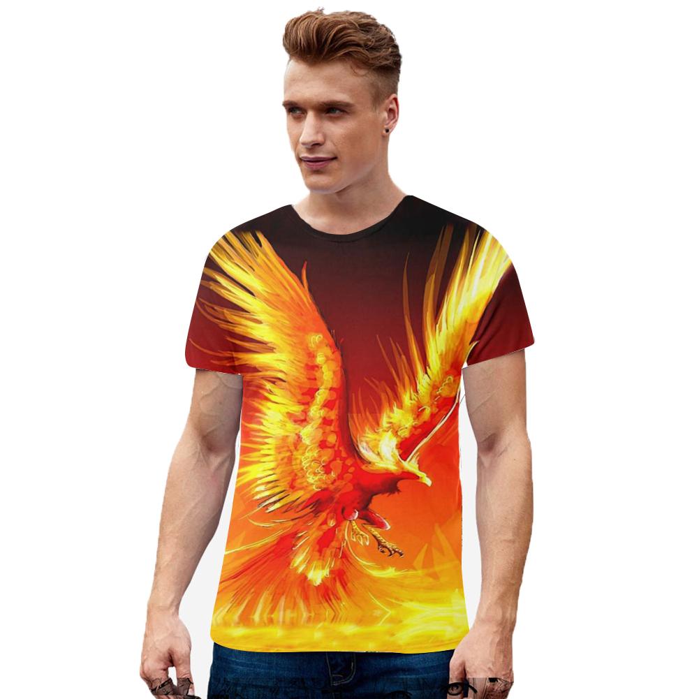 Men Women Loose 3D Golden Phoenix Printing Lovers T-shirt TX-RW-1355_L