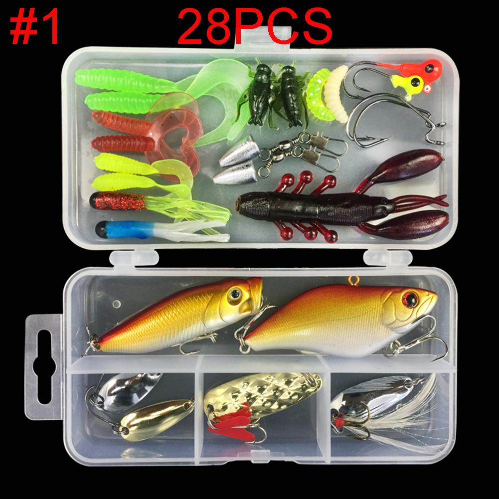 Multifunctional Fishing Lure Fake Bait Artificial Swimbait Fishing Hook Kit 28pcs/set_Lure bait set