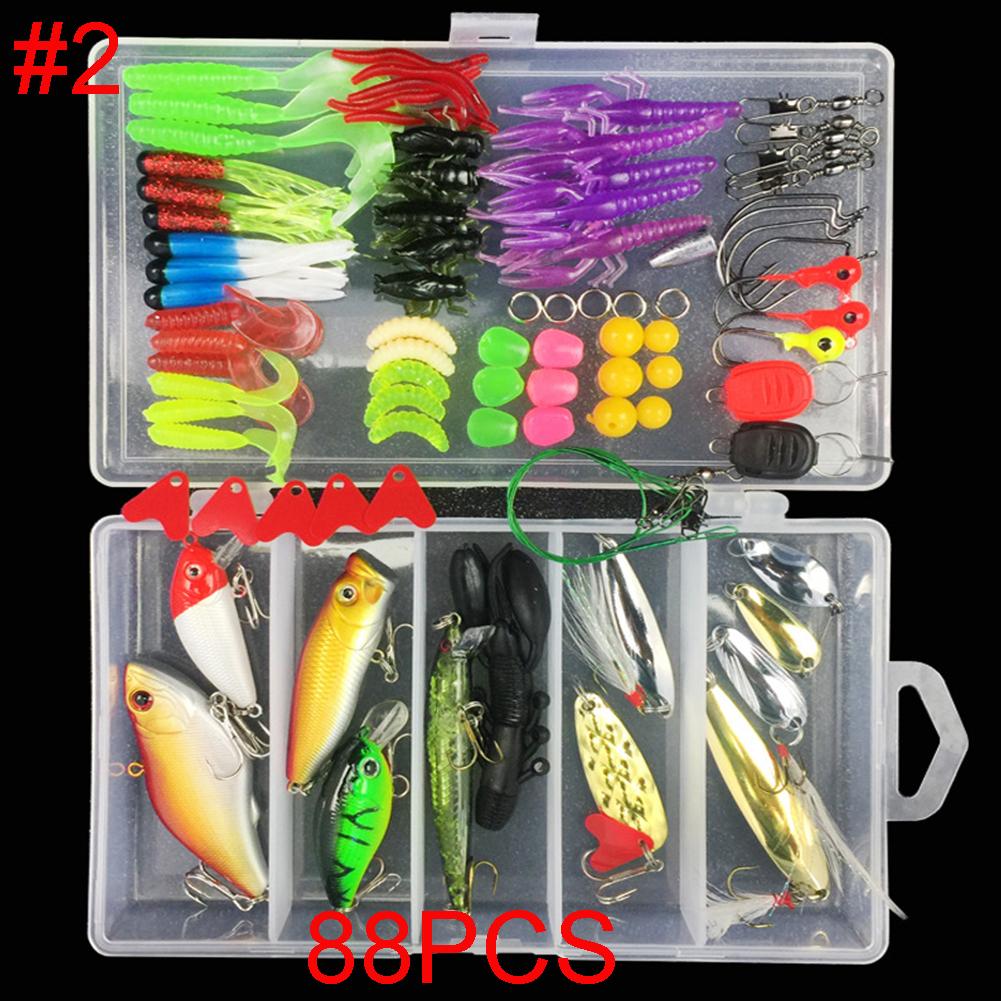 Multifunctional Fishing Lure Fake Bait Artificial Swimbait Fishing Hook Kit 88pcs/set_Lure bait set