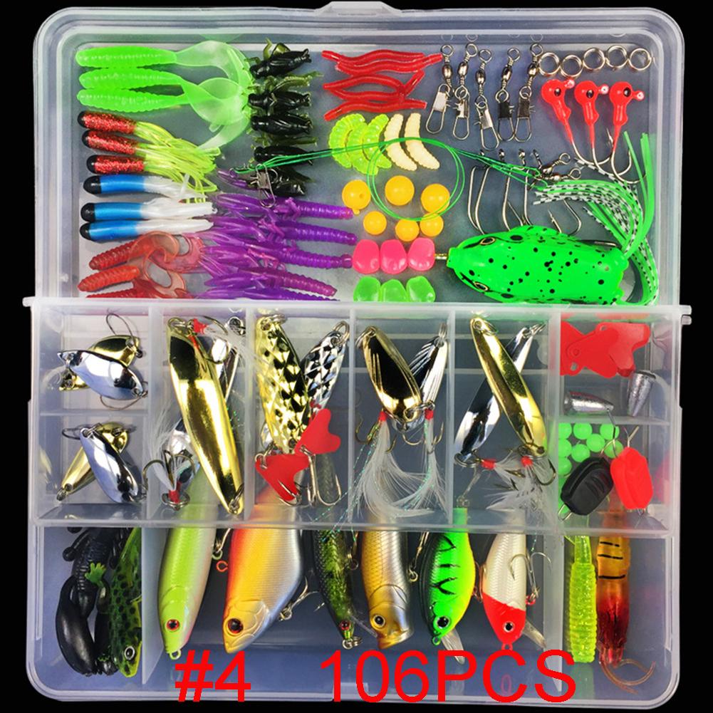 Multifunctional Fishing Lure Fake Bait Artificial Swimbait Fishing Hook Kit 106 pcs/set + frog_Lure bait set