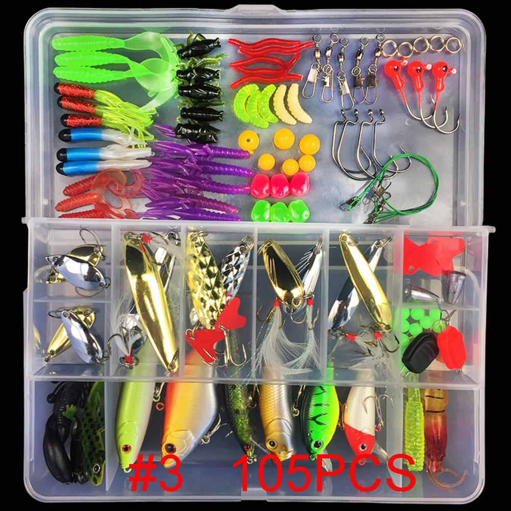 Multifunctional Fishing Lure Fake Bait Artificial Swimbait Fishing Hook Kit 105pcs/set_Lure bait set
